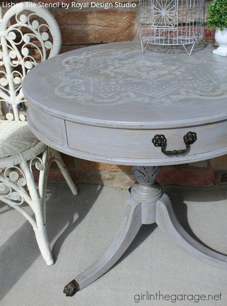 Vintage Boho Gray and White Chalk Paint Painted Furniture Table Top with Lisboa Tile Stencils - Royal Design Studio