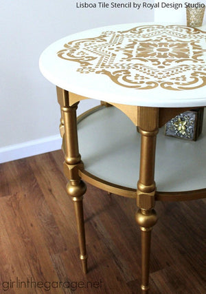 Designer Glam Metallic Gold and White Chalk Paint Painted Furniture Table Top with Lisboa Tile Stencils - Royal Design Studio