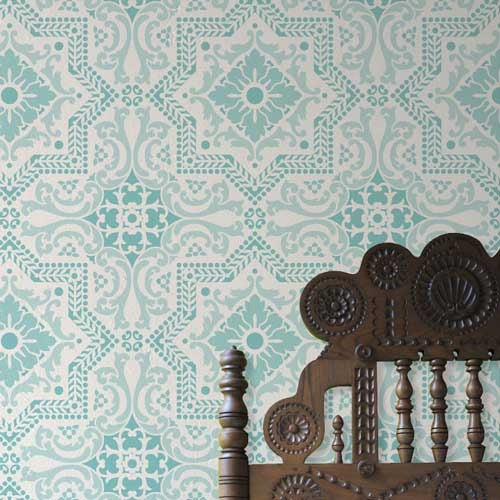 Classic Spanish, Portuguese, European Design - Lisboa Tile Wall Stencils for Painting Accent Wall - Royal Design Stuio