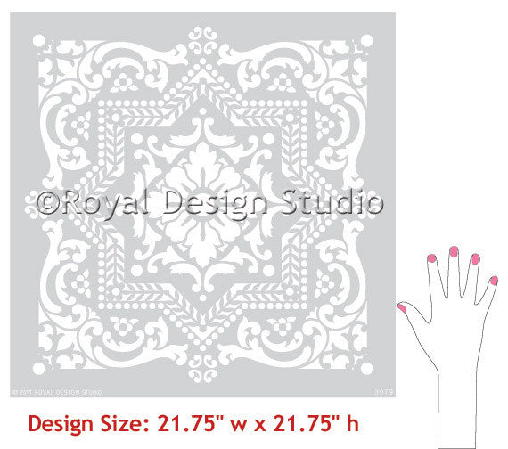 Lisboa Tile Wall Stencils patterns for exotic tile look - Royal Design Studio