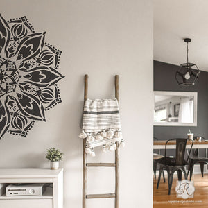 Modern Boho Living Room Wall Art Mandalas for Stenciling and Decorating - Royal Design Studio Stencils