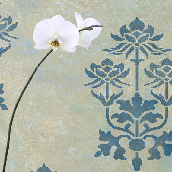 Kamal Lotus Flower Indian Furniture Stencil
