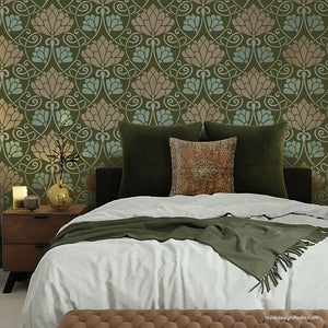 Lotus Paradise Floral Wall Stencil