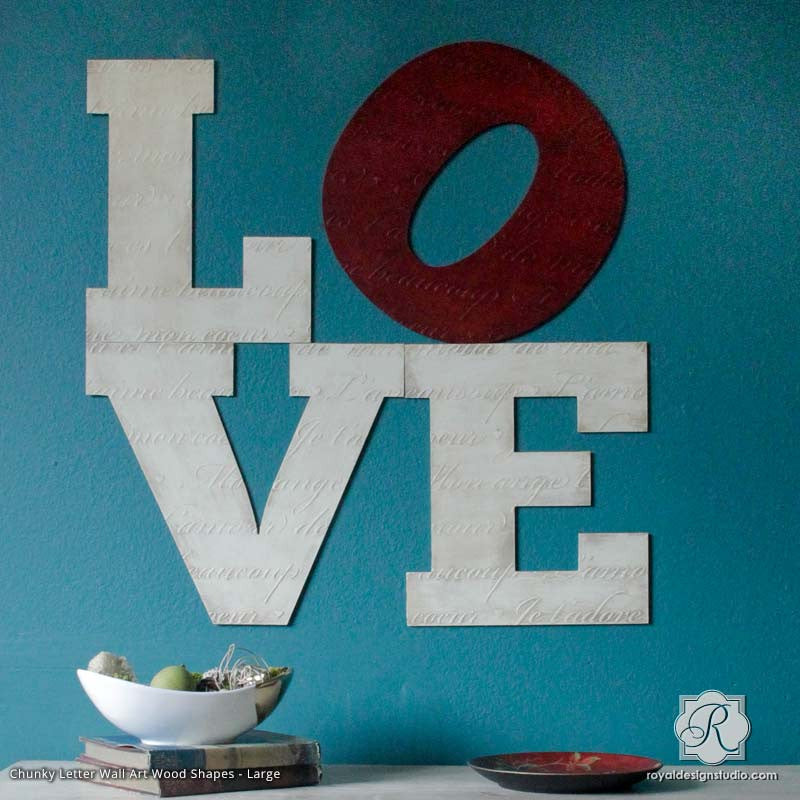 Alphabet Letters Wall Art Wood Shapes for DIY Decor | Royal Design ...