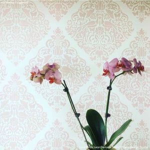 Wall Painting Stencils - Love Birds Lace Damask Wall Stencils from Royal Design Studio