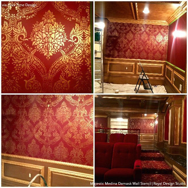 Large Victorian Classic Damask Wallpaper Wall Stencils - Royal Design Studio