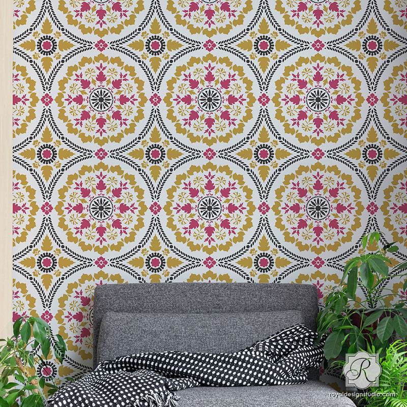 Painting Large Moroccan Patterns on Wall Mural - Mandala Fusion Tile Stencil - Royal Design Studio