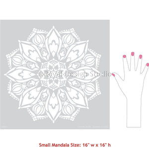 Easy and Affordable Dorm Decor Ideas - Indian Boho Mandala Wall Art Stencils - Royal Design Studio