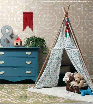 Cute Kids DIY Tent Teepee - Painted and Stenciled with Craft Fabric Stencils - Royal Design Studio