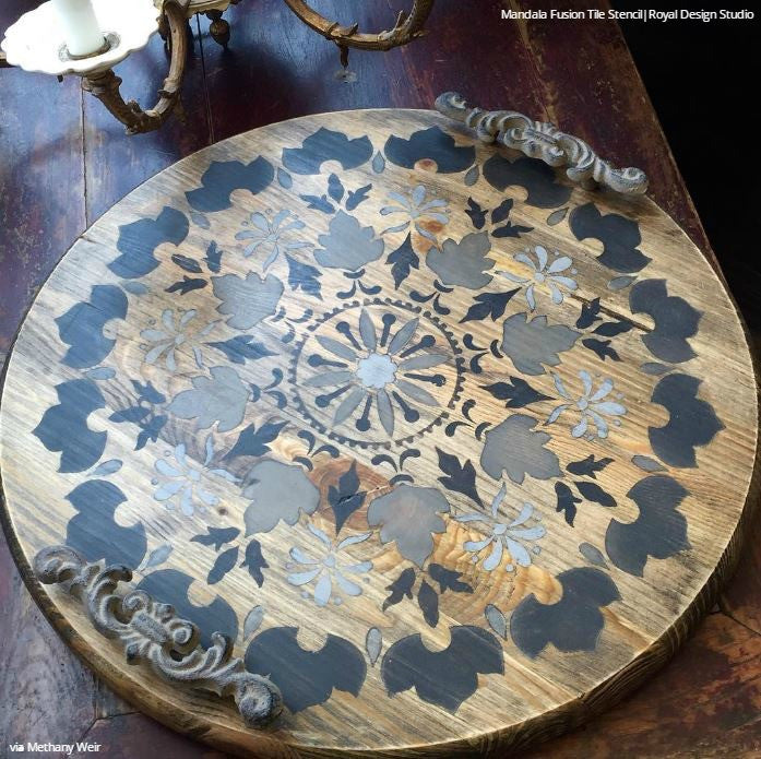 Chalk Paint Annie Sloan Wax Reclaimed Wood Furniture Mandala Stencils - Royal Design Studio