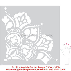 Large Mandala Wall Mural Stencils for Painting Bedroom Accent Wall or Boho Floor Pattern - Royal Design Studio Stencils