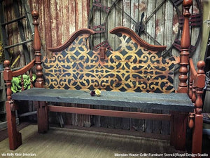 Painted Wood Furniture with Stenciled Pattern - Mansion House Grille Trellis Furniture Stencils - Royal Design Studio