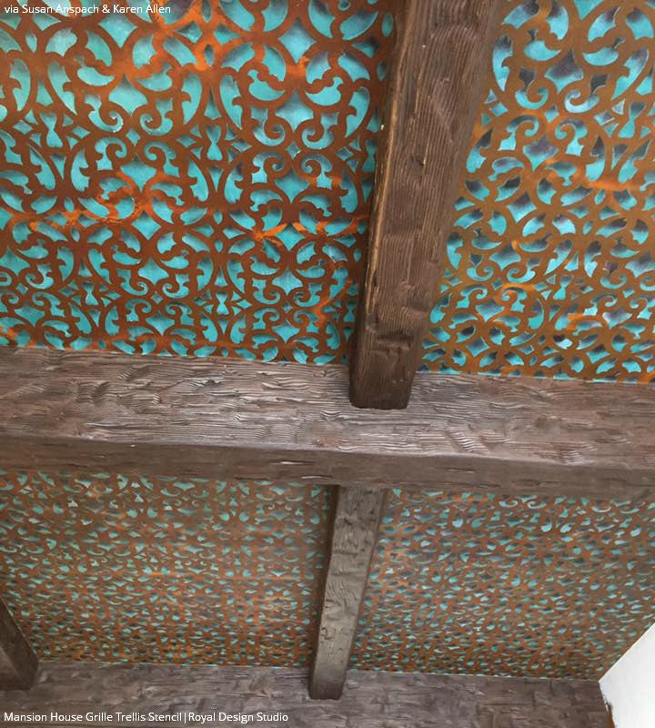 Painting Metal Trellis Carved Wood Patterns on Ceiling - Mansion House Grille Trellis Wall Stencils - Royal Design Studio