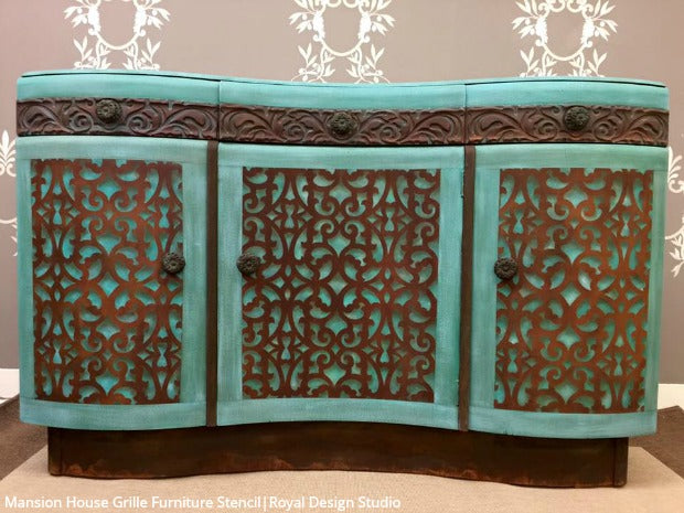 Mansion House Grille Trellis Furniture Stencil