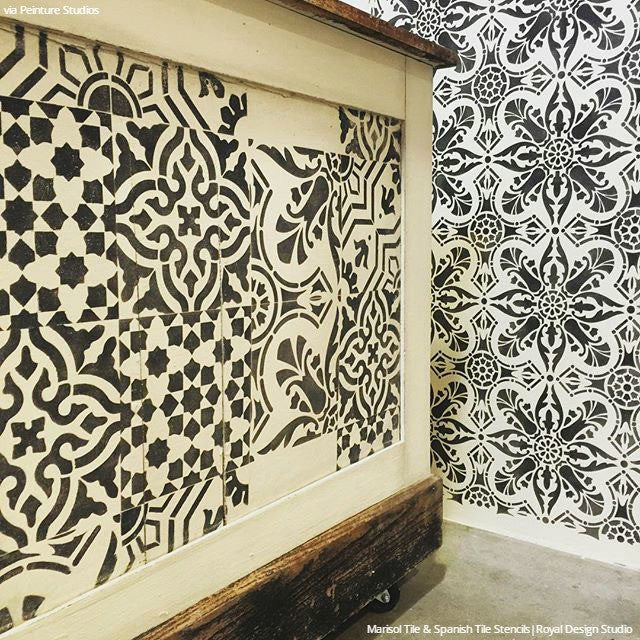 Black and White DIY Faux Tile Spanish Decor Stencils - Royal Design Studio