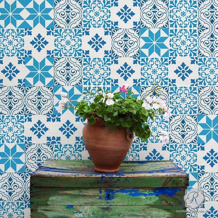 Painting Colorful Designs on Wall Decor with Mediterranean Tile Stencils - Royal Design Studio