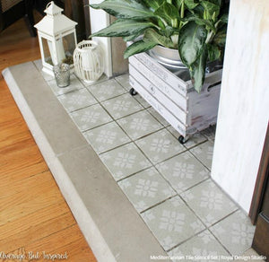 Faux Tile Painted Floors - Mediterranean Tiles Stencils - Royal Design Studio