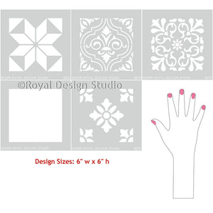 Mix and Match Exotic Mediterranean Tile Stencils on Stenciled Walls and Floors - Royal Design Studio