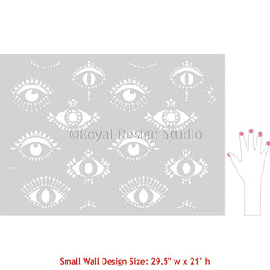 Protective Eyes Wallpaper Wall Design - Evil Eye Moroccan Stencil - All Seeing Eye Wall  Stencil - Bohemian Decor Stencils - Royal Design Studio