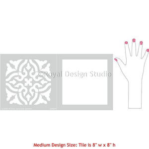 Decorative Faux Painted Tile Design for Wall Murals and Floor Makeovers - Toledo Tile Stencils - Royal Design Studio
