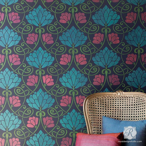 Wall Stencil Art damask wall stencils - large wall stencils for diy designer