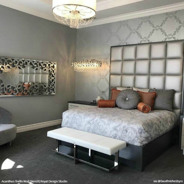 wall pictures for bedroom large trellis wall stencil acanthus damask wall stencil 17754