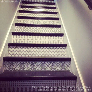 Stenciled Stairs with Moroccan Patterns - Royal Design Studio Stencils