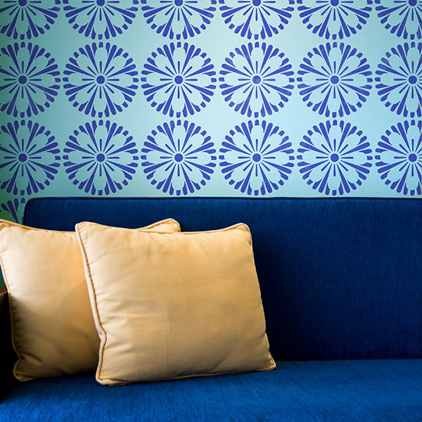 Paint an Accent Wall with a Designer Wallpaper Look - Modern Geometric Circles Allover Flower Wall Stencils - Royal Design Studio