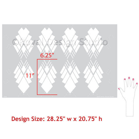 Art Deco Diamond Allover Stencil for Walls. Raven + Lily Stencils | Royal Design Studio