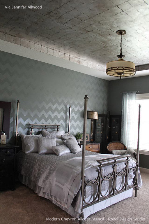 Elegant Bedroom Makeover using Modern Stencil Chevron Lines Allover Stencil