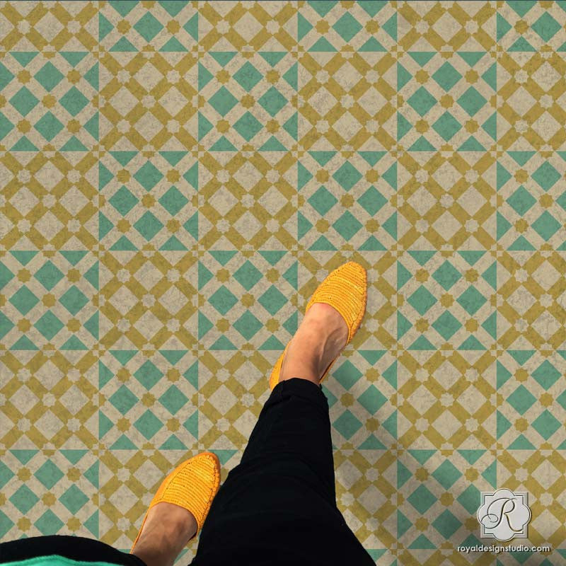 Modern And Geometric Painted Floor Stencils With Star Diamonds Moroccan  Craft Project   Royal Design Studio