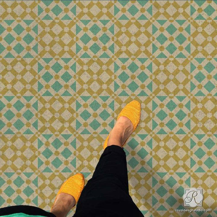 Modern and Geometric Painted Floor Stencils with Star Diamonds Moroccan Craft Project - Royal Design Studio