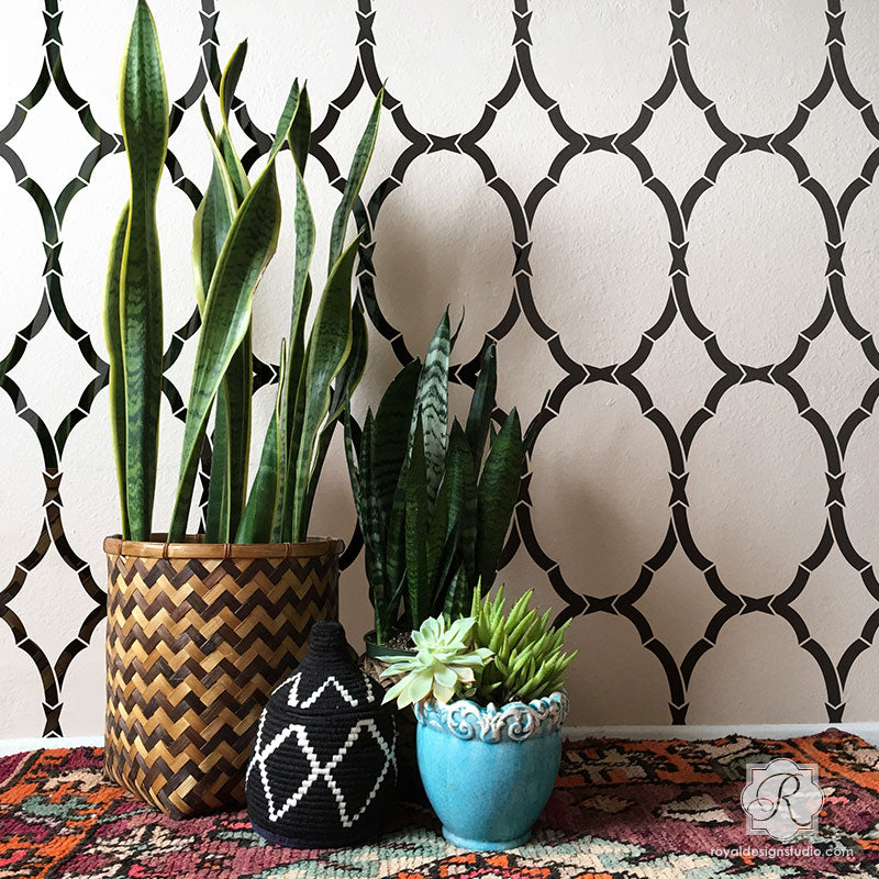 Decorative Stencils for Painting Walls with Designer Trellis Wallpaper Look - Royal Design Studio