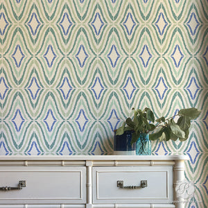 Retro Stripes and Diamond Shapes for DIY Decorating - Good Vibrations Modern Wall Stencils - Royal Design Studio