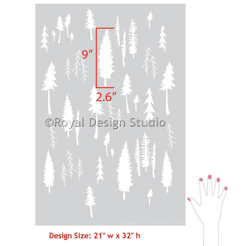 Tree Forest Wall Stencils - DIY Rustic Room Decor - Designer Bonnie Christine Patterns for Royal Design Studio