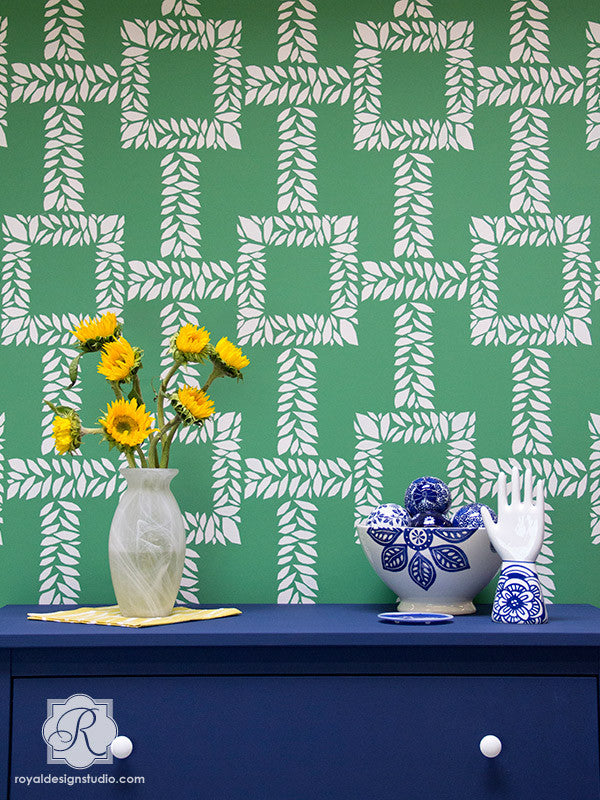 Decorate an accent wall in the living room or kitchen with trendy leaf designs and wall stencils - Royal Design Studio