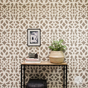 Painting Metal Trellis Patterns on Accent Wall - Mansion House Grille Trellis Wall Stencils - Royal Design Studio