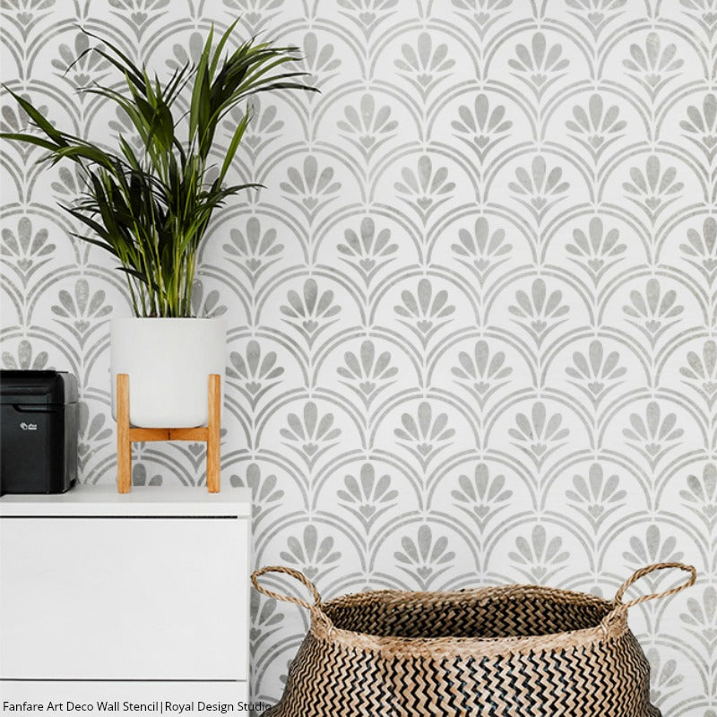 Art Deco Fanfare Raven + Lily Wall Stencil | Royal Design Studio ...