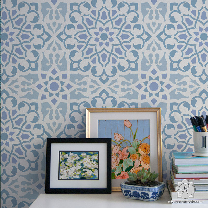 Modern Geometric Wall Decor Art - Zahara Moroccan Wall Stencils - Royal Design Studio