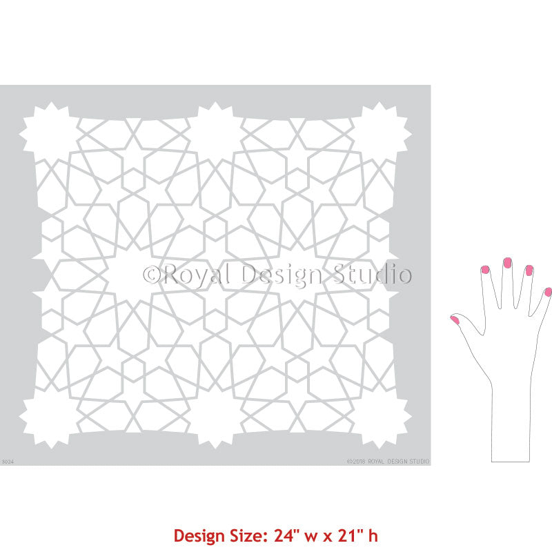 Moroccan Zelij Tiles Stencils for Painting Boho Wall Decor - Moroccan Geometric Wall Stencils - Royal Design Studio