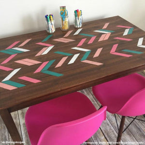 Chalk Paint Painted Reclaimed Wood Table Furniture Herringbone Stencils - Royal Design Studio