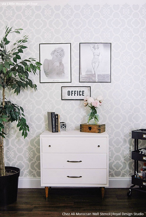 Trendy DIY Office Makeover - Metallic Silver Wallpaper Wall Stencils - Royal Design Studio
