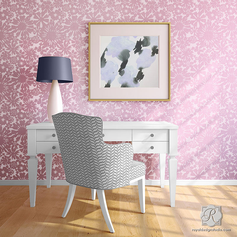 Modern Flower Wallpaper Wall Stencils for Easy DIY Decorating and Flower Wall Mural - Royal Design Studio
