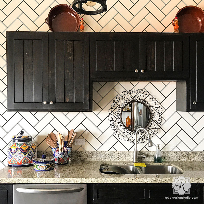 Wall Pattern Stencils Faux Subway Tiles With Herringbone Design