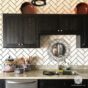 Easy and Cheap DIY Subway Tiles Kitchen Backsplash Idea Wall Stencils - Royal Design Studio