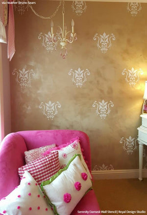 Modern Pink Living Room Makeover - Wall Art Stencils for Decorative Painting - Royal Design Studio