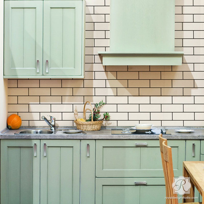 Painted Kitchen Ideas For Walls: Faux Subway Tile Wall Stencil