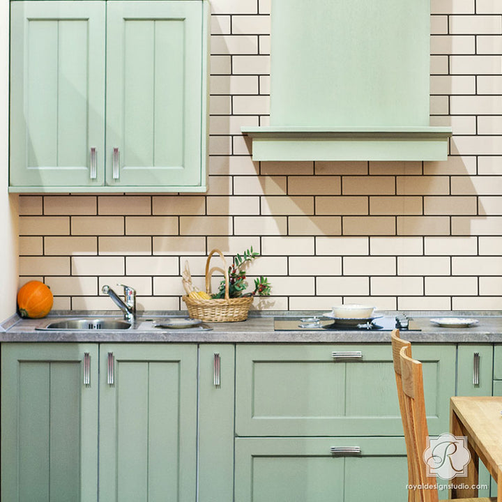Subway Tiles Wall Stencil for Painting a Custom Kitchen Design Backsplash - Royal Design Studio