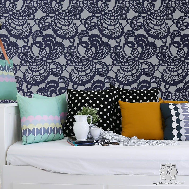 Large Wallpaper Patterns Stenciled Designs - Lace Wall Stencils - Royal Design Studio