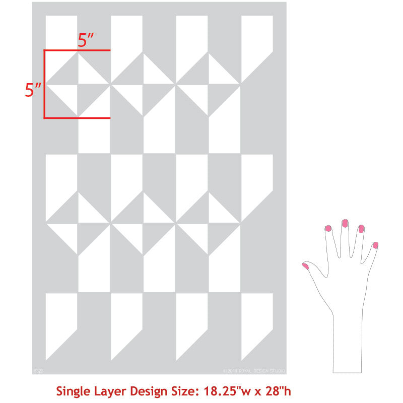 Faux Tiled Floor or Wallpaper Pattern - Calypso Tiles Allover Stencils for Painting - Royal Design Studio